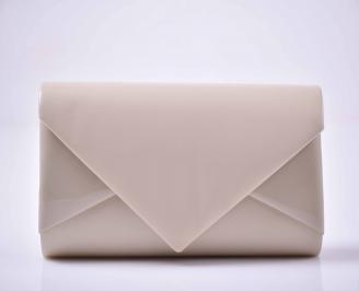 Елегантна абитуриентска чанта ситен брокат бежова  EOBUVKIBG