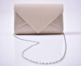 Елегантна абитуриентска чанта ситен брокат бежова  EOBUVKIBG 3