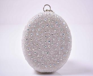 Елегантна абитуриентска чанта комбинация едър брокат ситен брокат бежова EOBUVKIBG