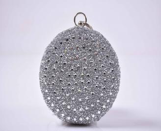 Елегантна абитуриентска чанта комбинация едър брокат ситен брокат сребриста EOBUVKIBG