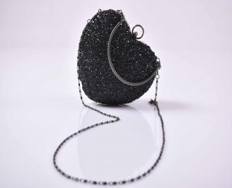 Елегантна абитуриентска чанта комбинация едър брокат ситен брокат черна EOBUVKIBG