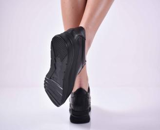 Дамски сникърси на платформа естествена кожа черни EOBUVKIBG 3