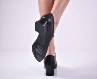 Дамски ежедневни обувки естествена кожа стабилен ток черни EOBUVKIBG