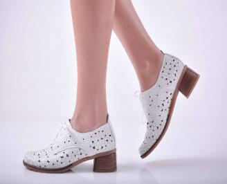 Дамски ежедневни обувки естествена кожа стабилен ток бели EOBUVKIBG