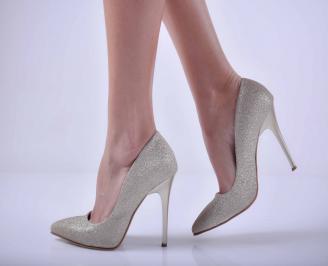 Дамски елегантни обувки ситен брокат златисти EOBUVKIBG