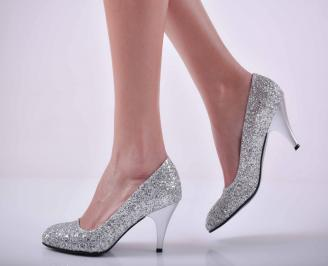 Дамски елегантни обувки едър брокат сребристи EOBUVKIBG