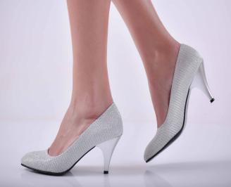 Дамски елегантни обувки ситен брокат сребристи EOBUVKIBG