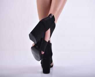 Дамски елегантни сандали велур черни EOBUVKIBG 3