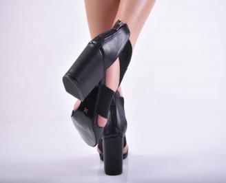 Дамски елегантни сандали кожа черни EOBUVKIBG 3
