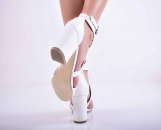 Дамски елегантни сандали кожа бели EOBUVKIBG 3