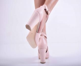 Дамски елегантни сандали кожа пудра EOBUVKIBG 3