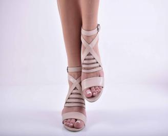 Дамски елегантни сандали кожа пудра EOBUVKIBG