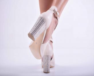 Дамски елегантни сандали кожа бежови EOBUVKIBG