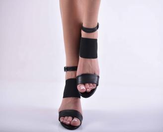 Дамски елегантни сандали кожа черни EOBUVKIBG