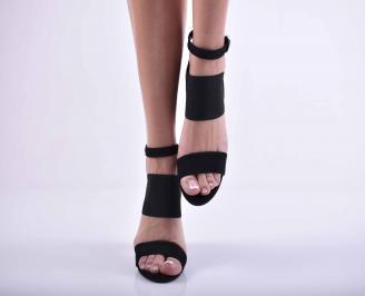 Дамски елегантни сандали велур черни EOBUVKIBG