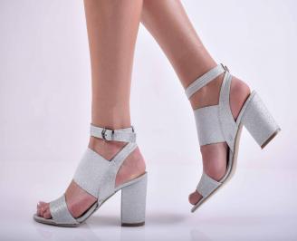 Дамски елегантни сандали ситен брокат сребристи EOBUVKIBG