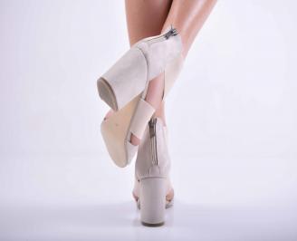 Дамски елегантни сандали велур бежови EOBUVKIBG