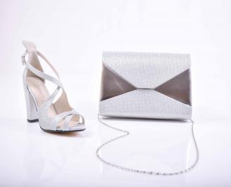 Комплект чанта и обувки сребристи
