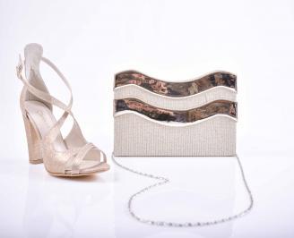 Комплект чанта и обувки златисти