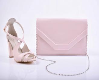 Комплект чанта и обувки пудра