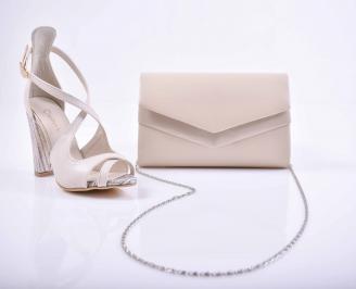 Комплект чанта и обувки бежови