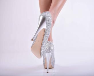 Дамски елегантни обувки сребисти EOBUVKIBG