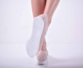 Дамски равни обувки естествена кожа пудра EOBUVKIBG