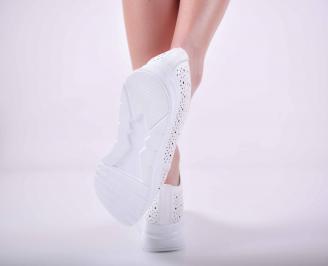 Дамски сникърси на платформа естествена кожа бели EOBUVKIBG