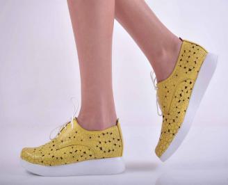 Дамски равни обувки естествена кожа жълти EOBUVKIBG