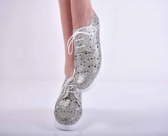 Дамски равни обувки естествена кожа сребристи EOBUVKIBG