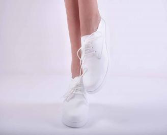 Дамски равни обувки естествена кожа бели EOBUVKIBG