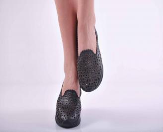 Дамски сникърси естествена кожа черни EOBUVKIBG