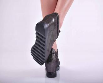 Дамски сникърси на платформа естествена кожа черни  EOBUVKIBG