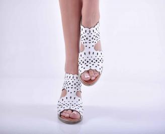 Дамски елегантни сандали кожа бели EOBUVKIBG