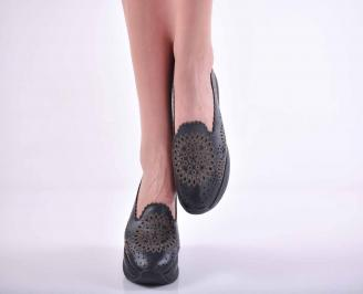 Дамски равни обувки естествена кожа черни EOBUVKIBG