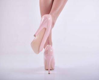 Дамски елегантни обувки  лак пудра EOBUVKIBG