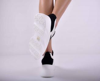 Дамски сникърси на платформа кожа и текстил бели  EOBUVKIBG