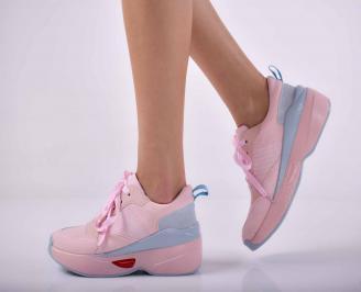 Дамски сникърси на платформа кожа розови  EOBUVKIBG