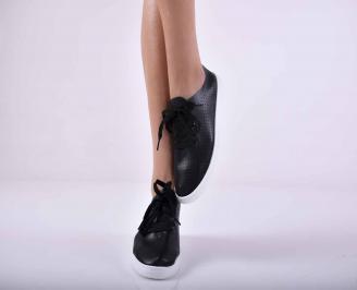 Дамски спортни обувки кожа черни EOBUVKIBG
