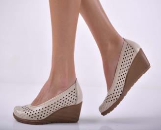Дамски ежедневни обувки произведени България естествена кожа бежови EOBUVKIBG