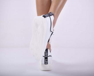Дамски сникърси естествена кожа произведени България бели EOBUVKIBG