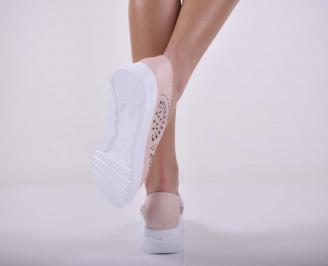 Дамски обувки  произведени България естествена кожа пудра EOBUVKIBG