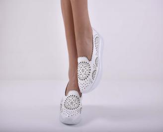 Дамски обувки  произведени България естествена кожа бели EOBUVKIBG