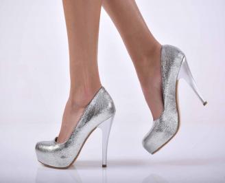 Дамски елегантни обувки сребристи EOBUVKIBG