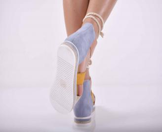 Дамски равни сандали велур шарени EOBUVKIBG