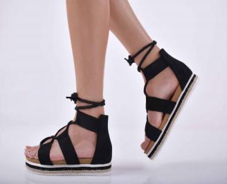 Дамски равни сандали велур черни EOBUVKIBG