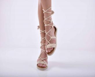 Дамски равни сандали велур бежови EOBUVKIBG
