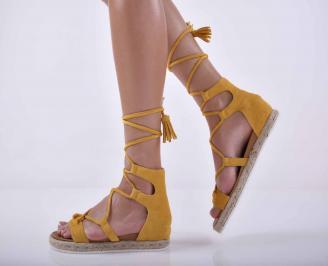Дамски равни сандали жълти EOBUVKIBG
