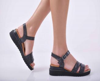 Дамски равни сандали естествена кожа черни EOBUVKIBG