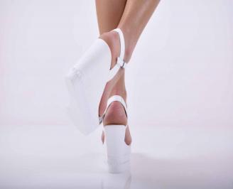 Дамски сандали на платформа естествена кожа бели EOBUVKIBG